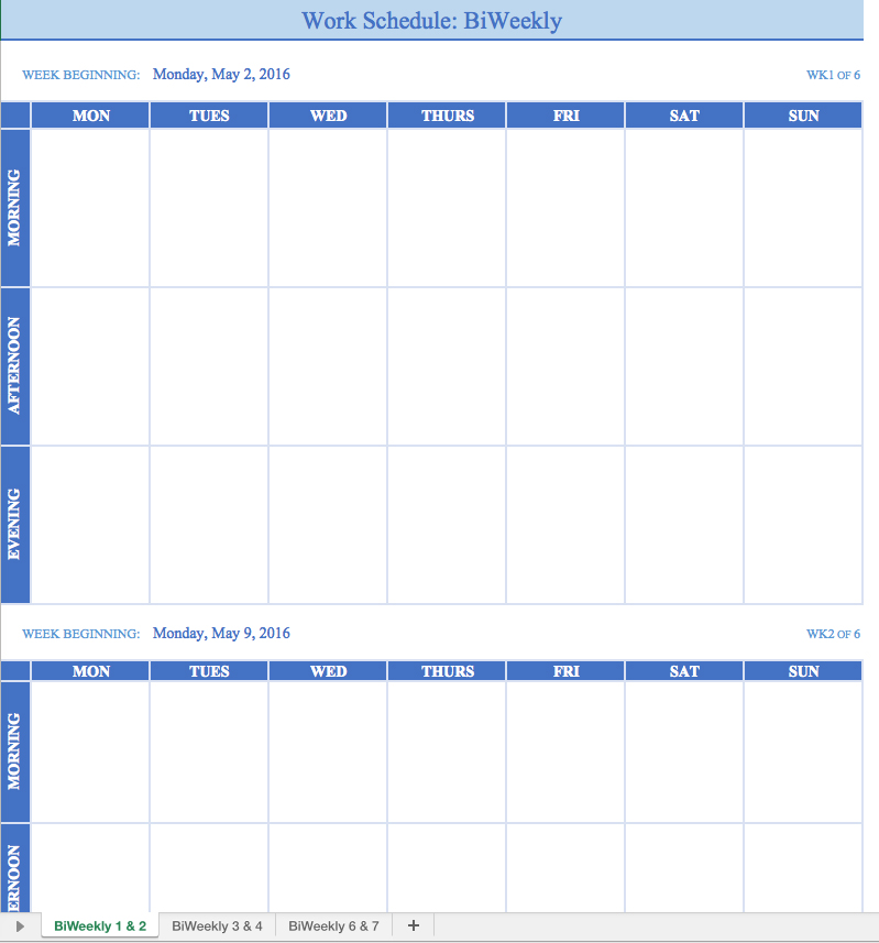 Schedule Templates For Work