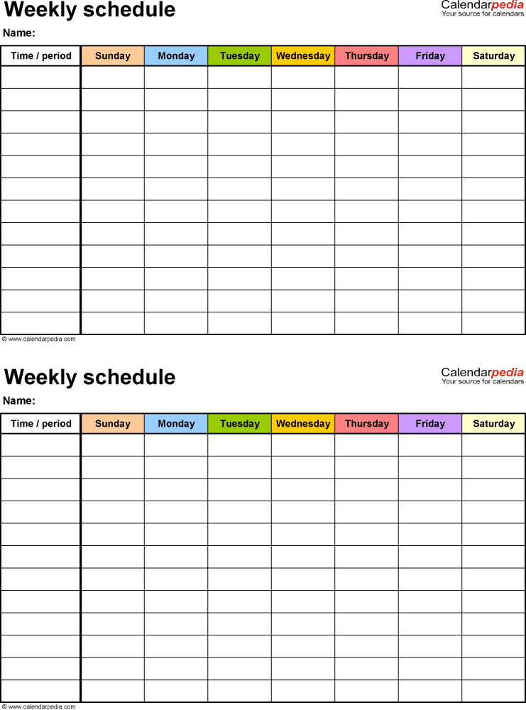 Printable Work Schedule Templates | vastuuonminun