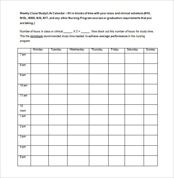 class schedules templates Londa.britishcollege.co