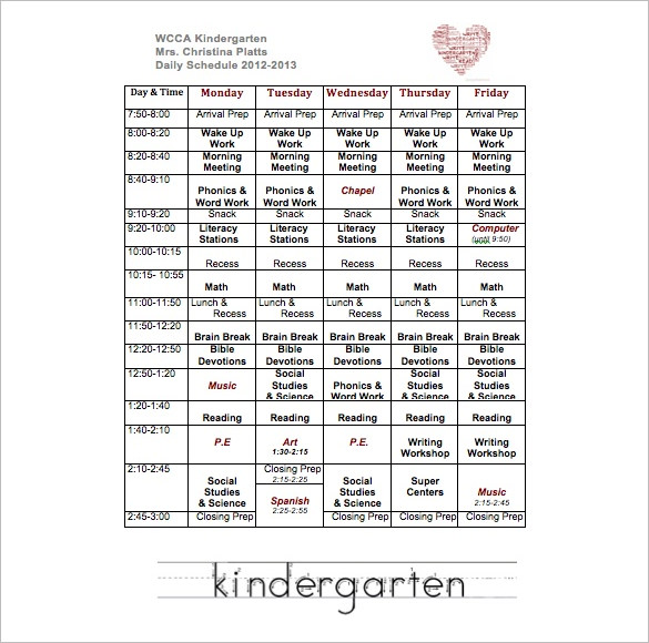 sunday school schedule template