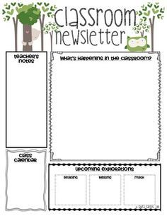 Here is a FREE Class Newsletter Template that is EDITABLE! You can