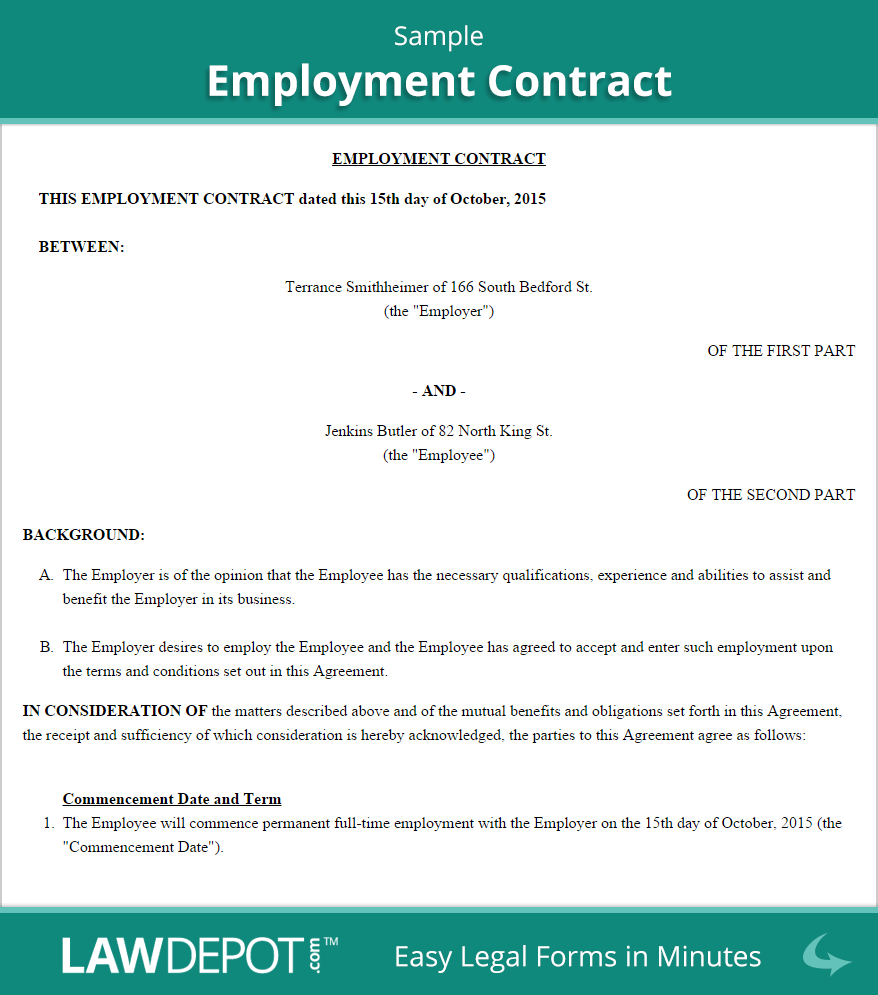 Employment Contract Template (US)  LawDepot