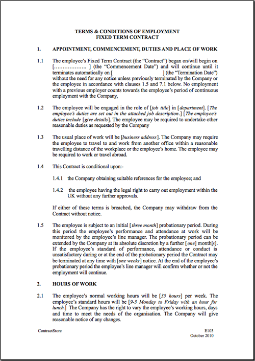Template Contract Of Employment Uk
