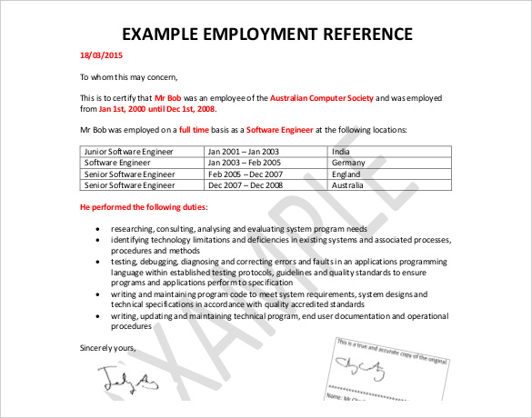 Employee Reference Letters Download Templates | Biztree.com