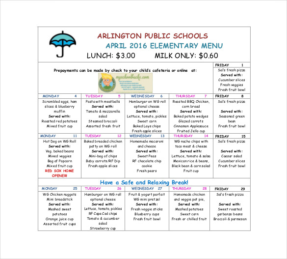 Template For School Lunch Menu
