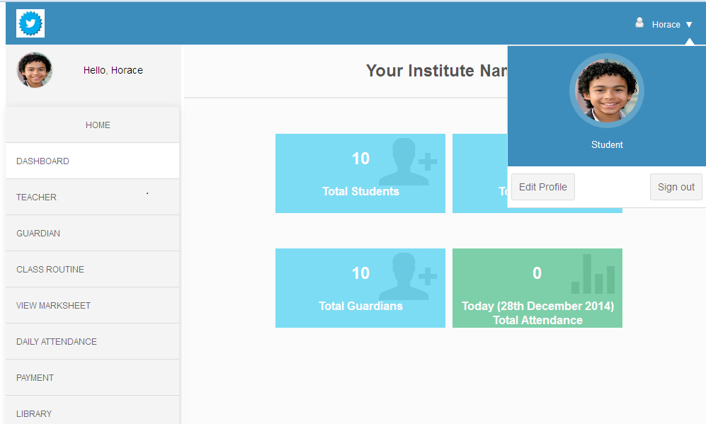 Template For School Management System