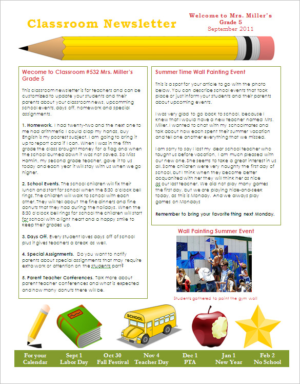 Template For School Newsletter Free