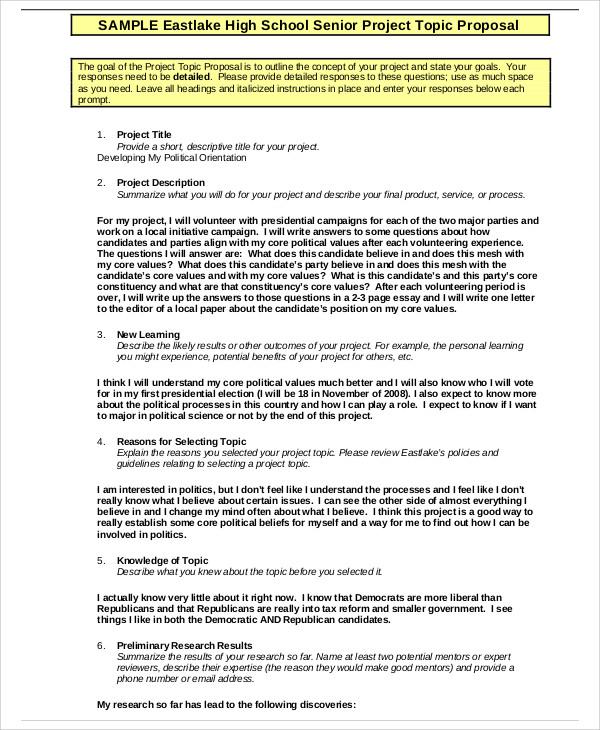 School Project Proposal Templates 9+ Free Word, PDF Format