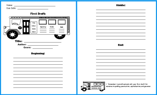 School Bus Book Report Project: templates, worksheets, grading