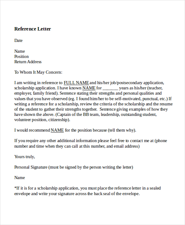 7 Reference Letter for Teacher Templates Free Sample Example Ideas