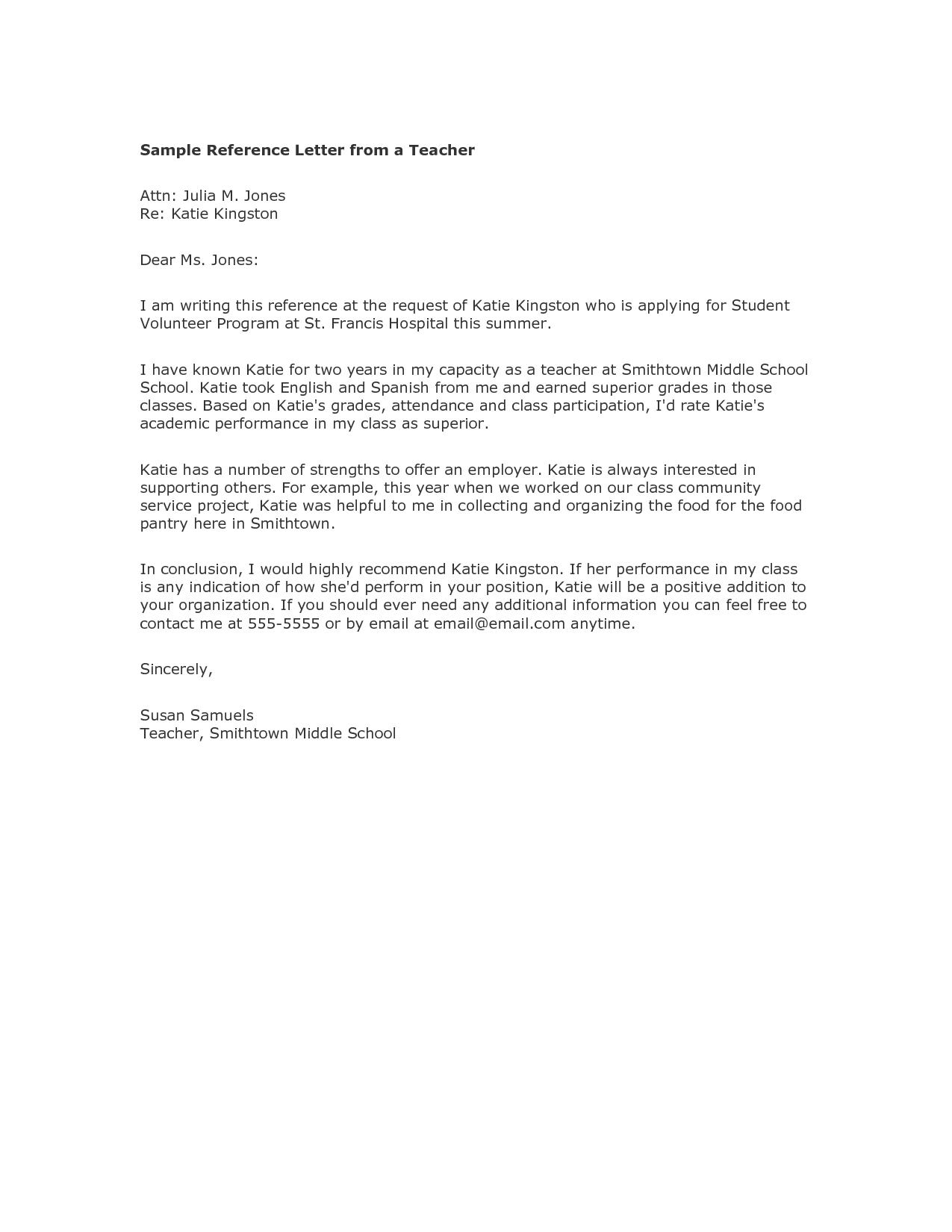 Recommendation Letter Sample For Teacher From Parent http://