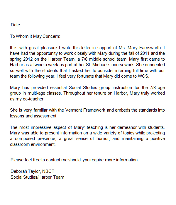 Template For Teacher Recommendation Letter