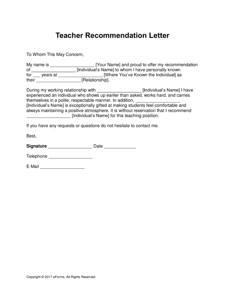 template for teacher recommendation letter  u2013 printable