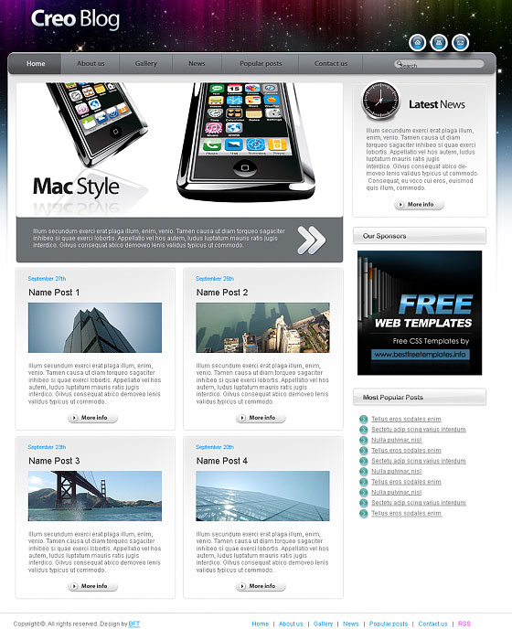 70+ Free XHTML/CSS Templates – Download Now | Freebies | Graphic