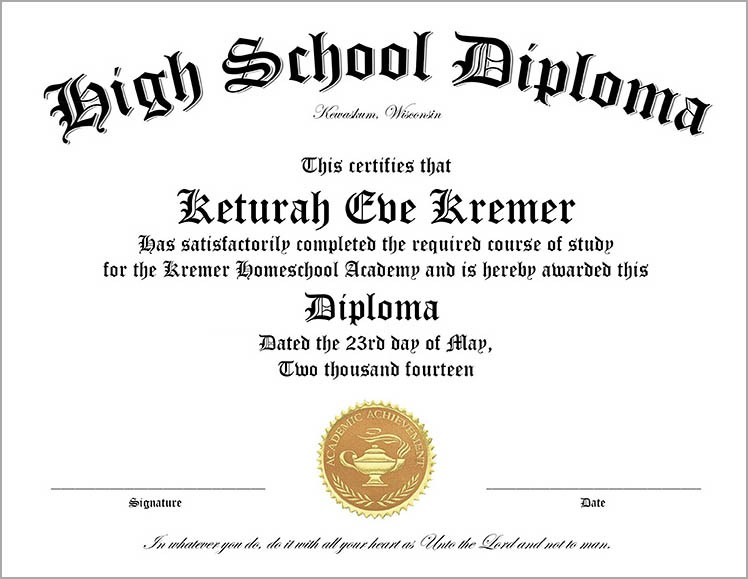 Template High School Diploma