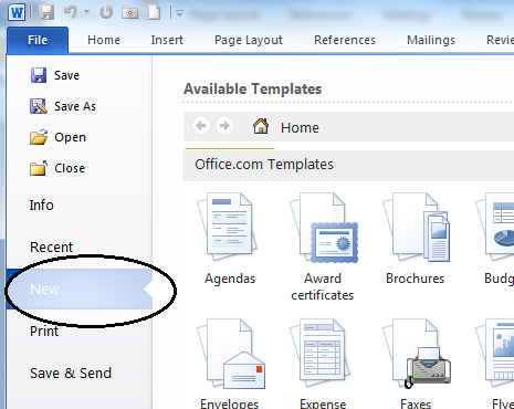 Template In Microsoft Word 2010