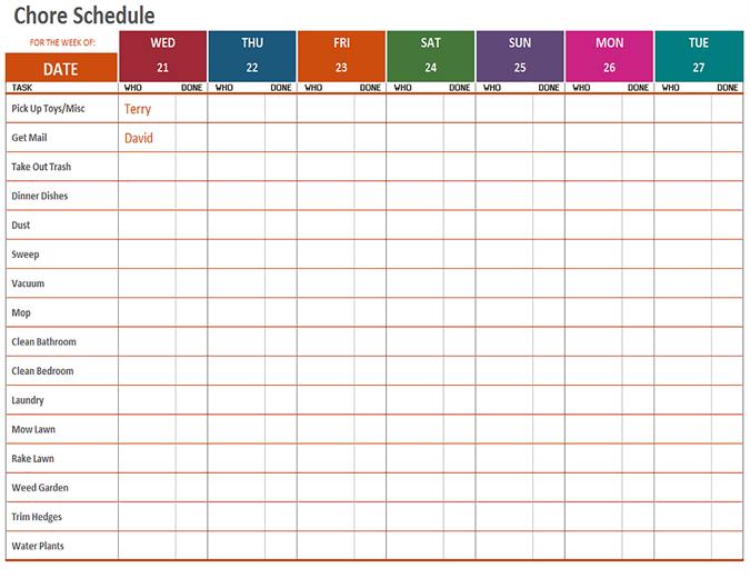 Template Of Weekly Schedule