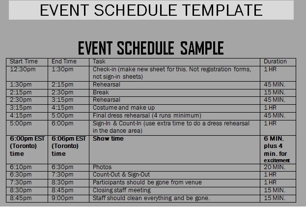 schedule of events template