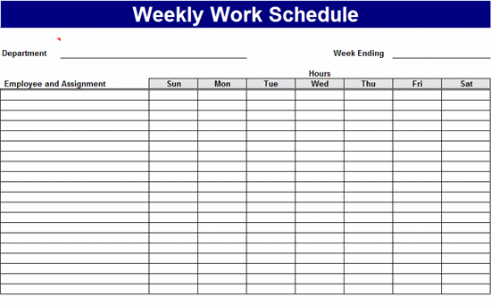 Template Schedule Of Works