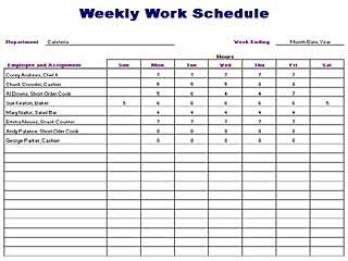 Employee Schedule Template Blank Work Schedule Template 12 Free