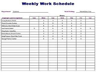 Free Printable Weekly Work Schedule Template | vastuuonminun
