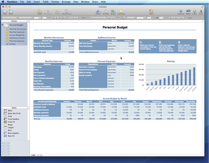 iWork '09 vs Office for Mac 2011 Numbers 'Personal Budget
