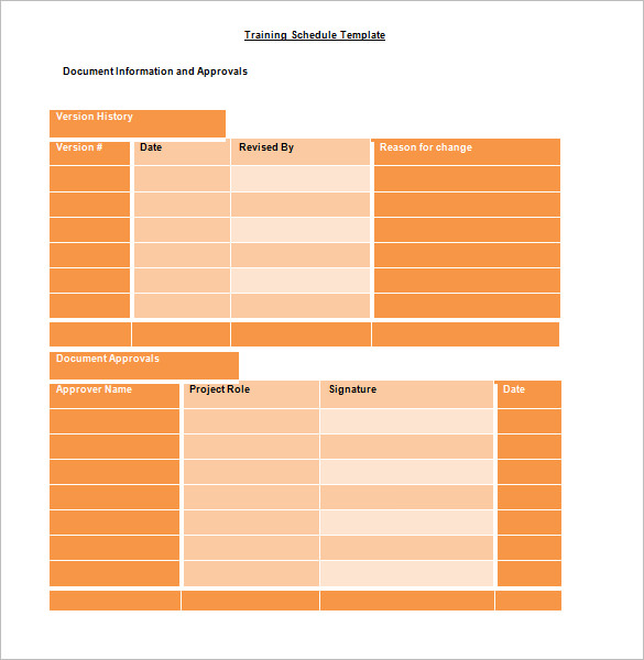 Training Schedule Template 8 Free Sample Example Format
