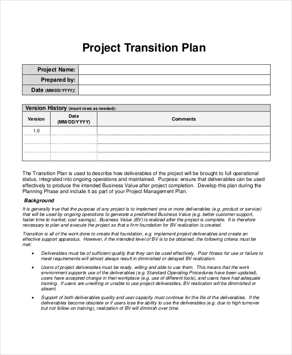 Transition Plan Template. Powerpoint Agile Release Plan Template