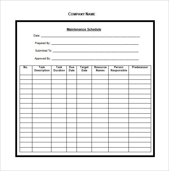 Vehicle Maintenance Schedule Templates 9+ Free Word, Excel, PDF