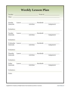 Basic Lesson Plan Template Single Lesson Plan Template Lesson