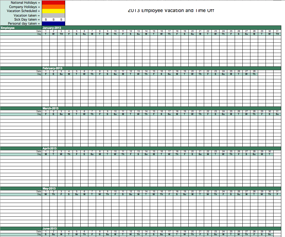 Best Photos of Vacation Schedule Template Excel Tracking