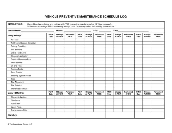 Wonderful Vehicle Preventive Maintenance Schedule Log Template