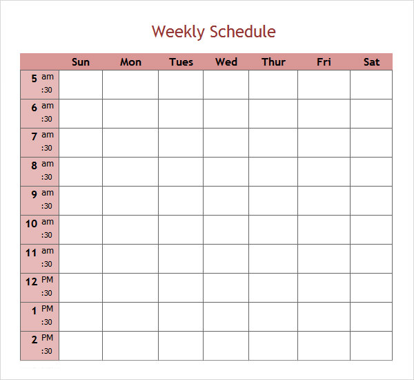 Weekend Schedule Template Excel