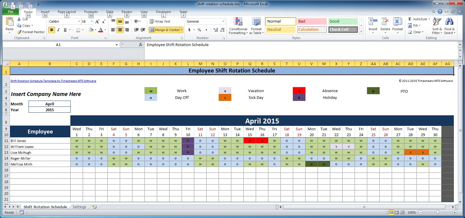 12 Steps to a Microsoft Excel Employee Shift Schedule   Zip Schedules
