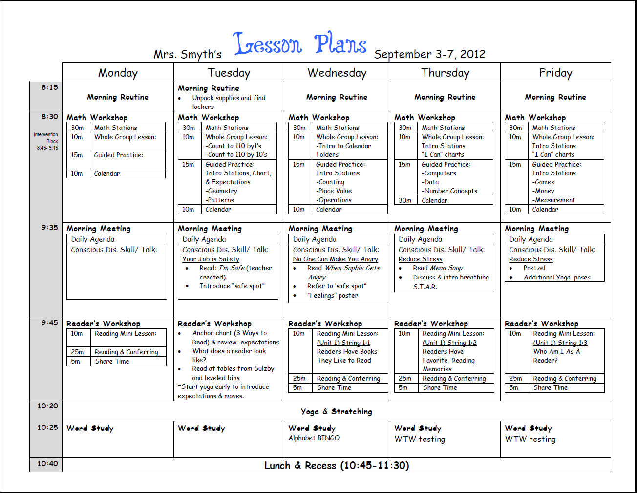 Image result for tuesday thursday weekly lesson plan template