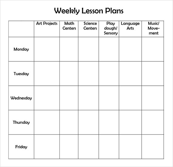 Weekly Lesson Plan Template. Preschool Lesson Plan Template For