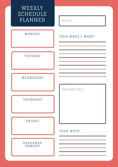 Weekly Planning Schedule Template