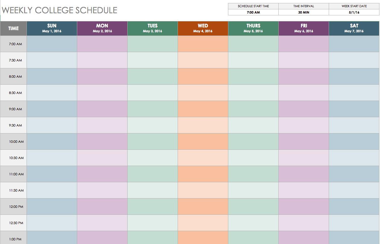 Weekly Schedule Template Free