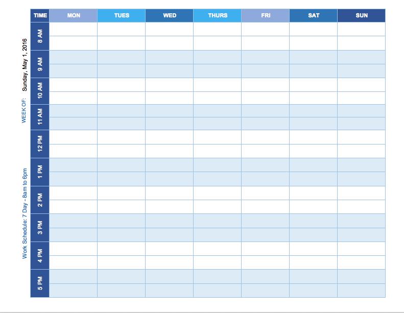 Free Weekly Schedule Templates For Excel Smartsheet