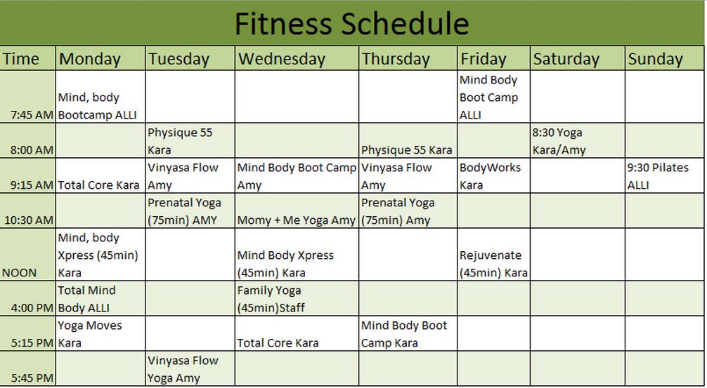 Exercise Schedule Planner Londa Britishcollege Co