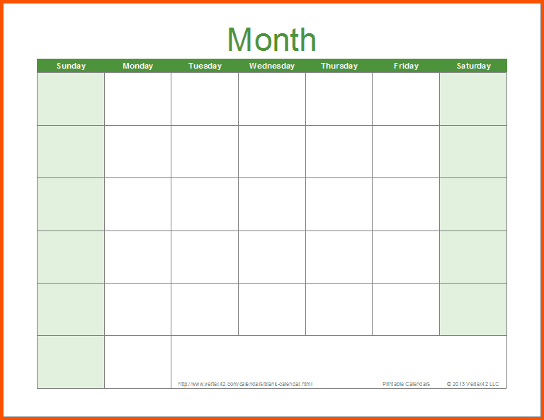 Word Schedule Template Monthly