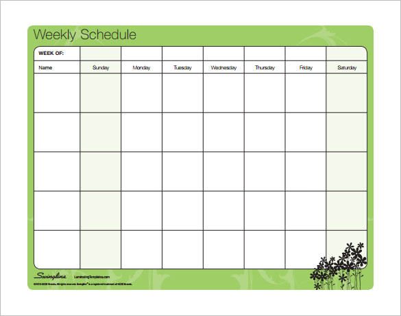 Word Schedule Template Weekly