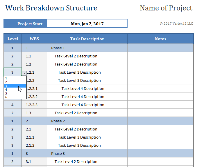 Breakdown Structure Template