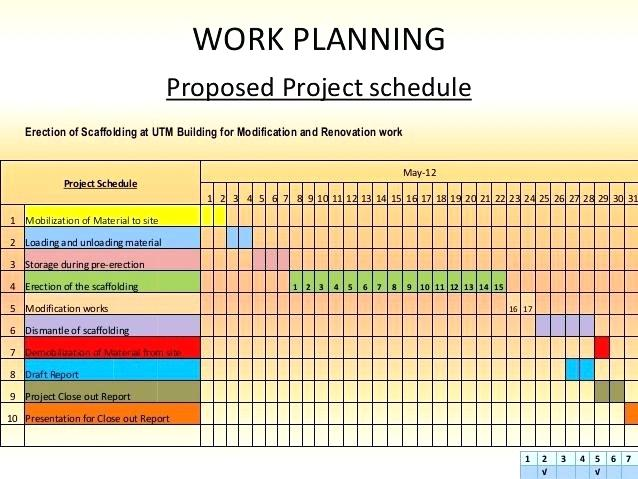 work schedule format for project