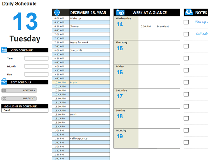 Daily work schedule Office Templates