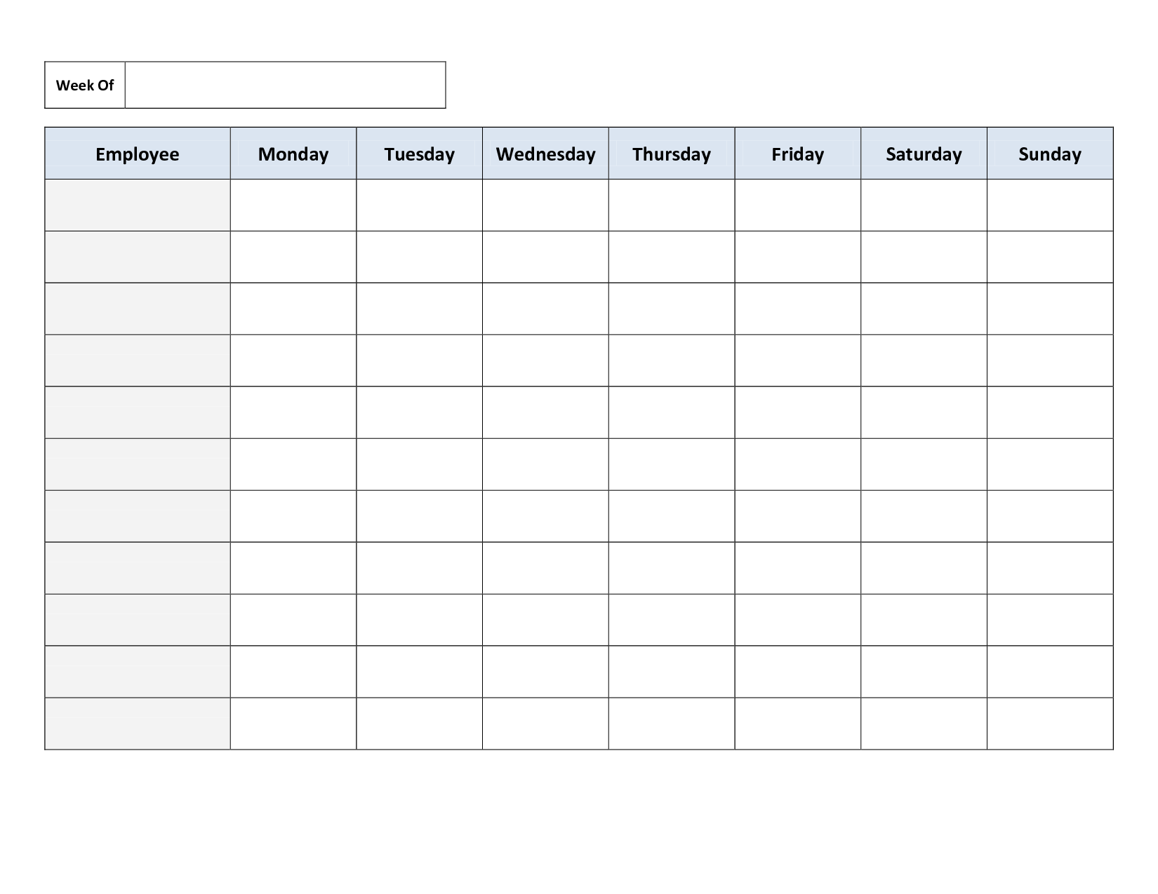 Work Schedule Template Free