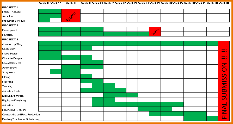 Year Schedule Template Excel