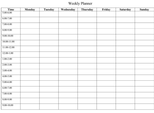 weekly schedule templates Londa.britishcollege.co