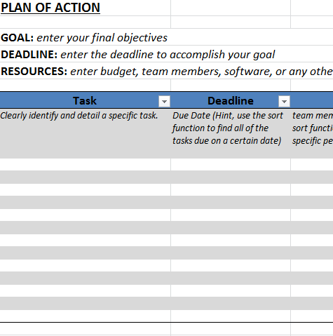 Action Plan Template in Excel Template trader