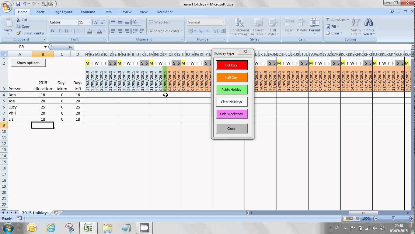 Free Excel Staff Annual Leave Planning Tool YouTube